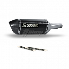 Autocollant Sticker Akrapovic - P-HST4ALMONO - 135 x 38 mm - noir et aluminium - P-HST4ALMONO