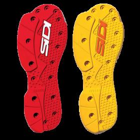 Paire de semelles pour bottes Sidi SMS Supermotard Jaune ou Rouge