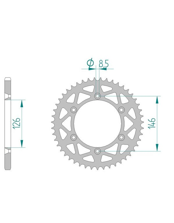 Couronne de transmission 520 AFAM alu 49 dents pour RMX 450 Z 10-13