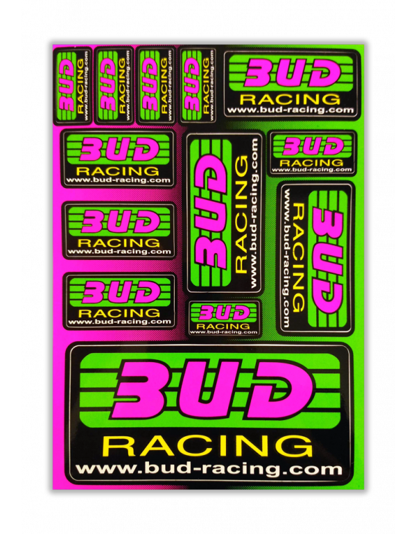 Planche de stickers fluo Bud Racing A5