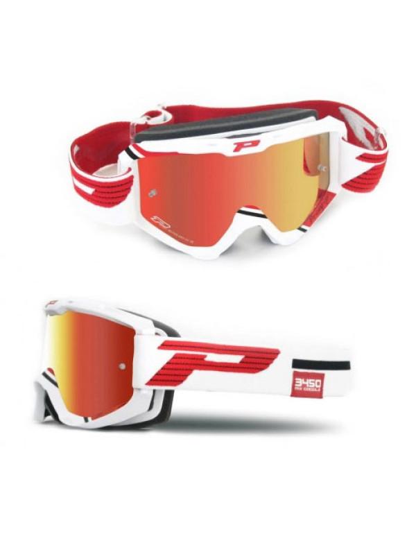 Masque Progrip Miroir Multicouches 3450FL Blanc Rouge