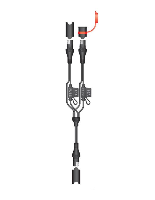 Accessoires pour chargeurs TECMATE Optimate et Accumate-Cordon dédoubleur avec fusibles O-5