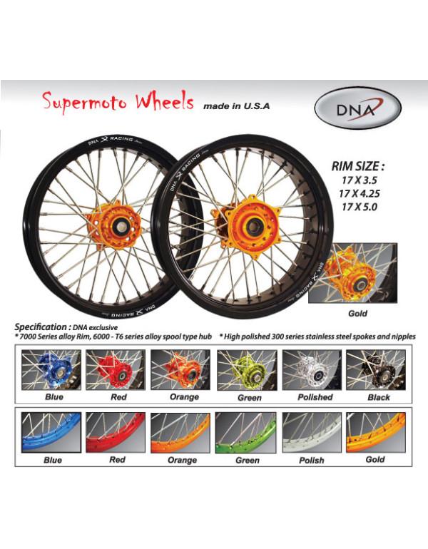 Paire de roues SUPERMOTARD av 17x3.5 + ar 17x5 pour KTM
