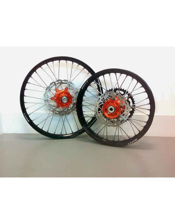 Paire de roues complètes avant 21 x 1,6 + arrière 18 x 2,15 pour KTM