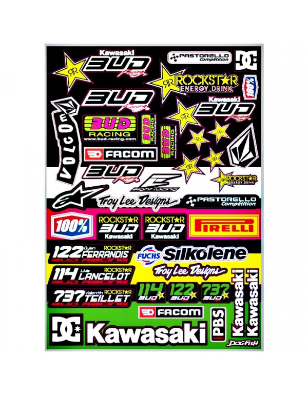 Planche stickers sponsors team Bud Racing 2013