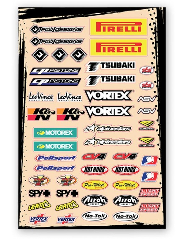 Planche stickers sponsors : Pirelli, Motorex, Spy et autres