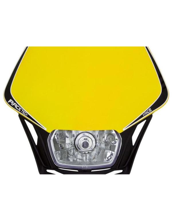 Plaque phare Racetech V-FACE Noire avec plaque jaune