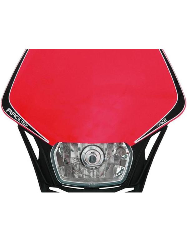 Plaque phare Racetech V-FACE Noire avec plaque rouge