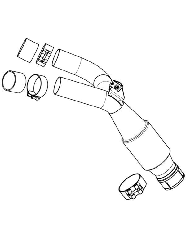 Raccord Y Akrapovic MT01 avec colliers et bagues