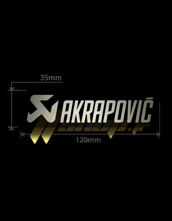 Autocollant Sticker Akrapovic 120x35mm - résistant à la chaleur - noir et aluminium - P-HST19AL