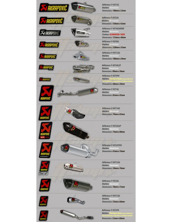 Autocollants / Stickers Akrapovic resistants a la chaleur
