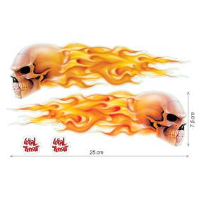 Stickers crâne avec flammes