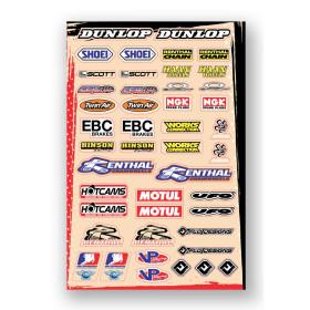 Planche stickers sponsors : Shoei, FMF, Acerbis et autres