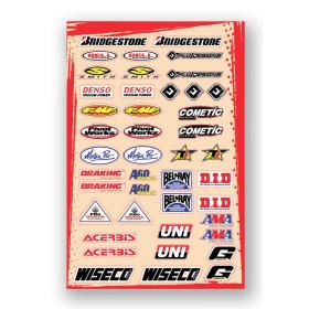 Planche stickers sponsors : Bridgestone, FMF, Acerbis et autres