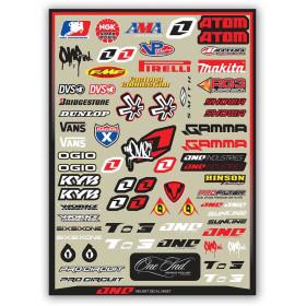 Planche de stickers sponsors pour casque